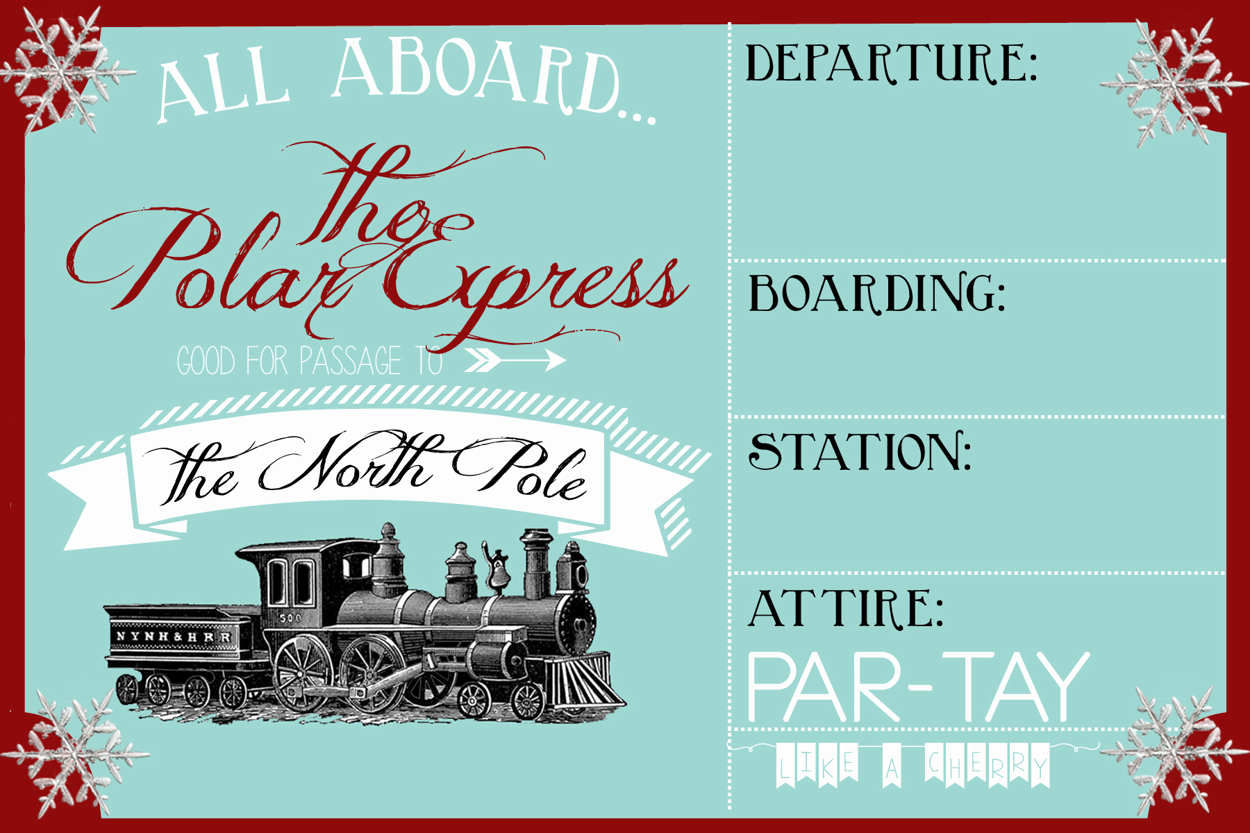 Polar Express Invitation Template Lovely Polar Express Party Invitation Party Like A Cherry