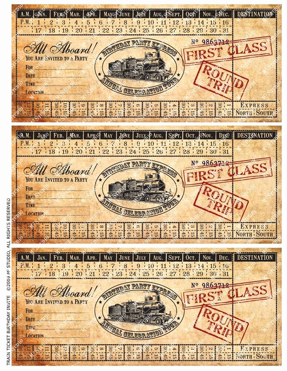 Polar Express Invitation Template Unique Printable Vintage Train Ticket Birthday Invitation