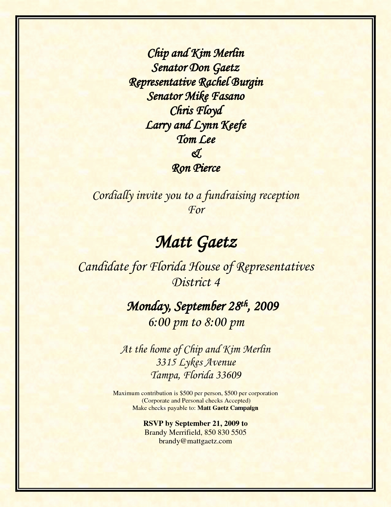Political Fundraiser Invitation Wording Best Of Political Fundraiser Flyer