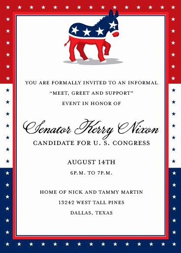 Political Fundraiser Invitation Wording Inspirational Democrat Party Fundraising Invitation Political Invitation