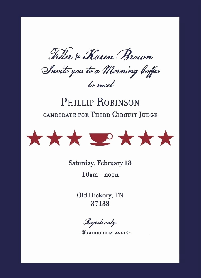 Political Fundraiser Invitation Wording Luxury Campaign Meet and Greet Invitation