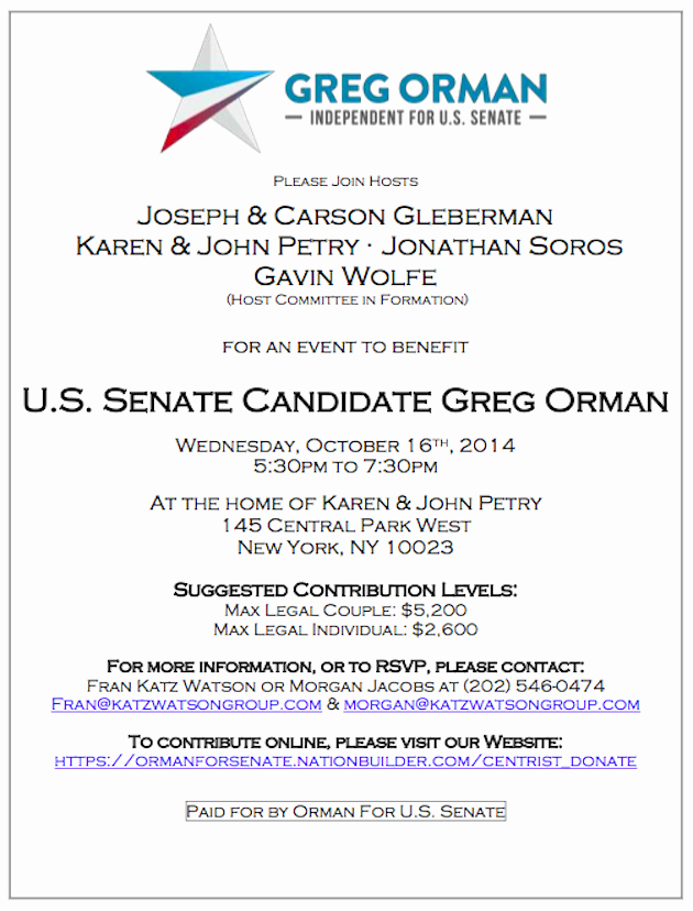 Political Fundraiser Invitation Wording Luxury soros to Host Fundraiser for 'independent' Kansas Senate