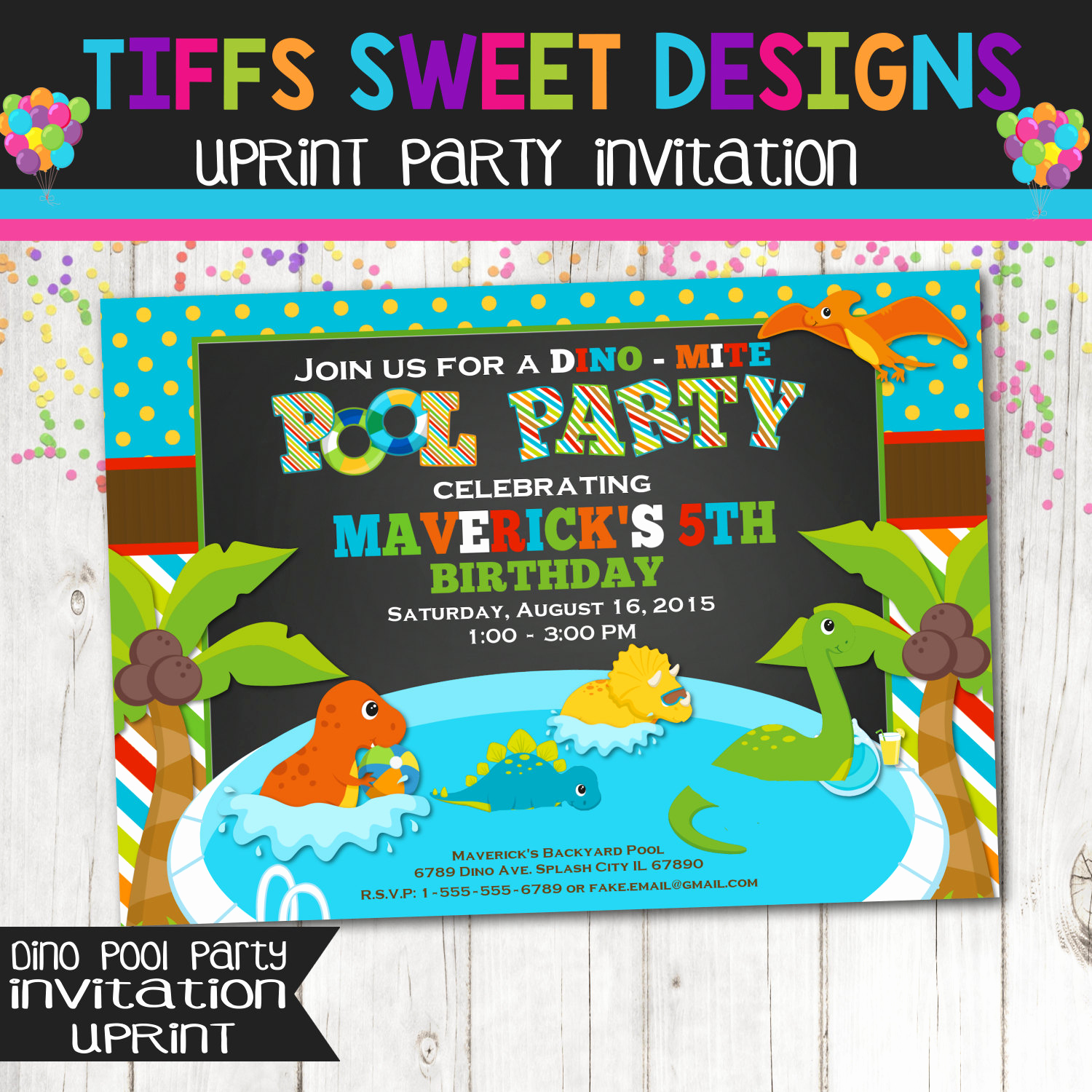 Pool Birthday Party Invitation Awesome Dinosaur Pool Party Invitation Birthday Party Dino
