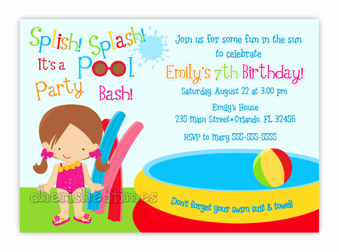 Pool Birthday Party Invitation Awesome Pool Party Birthday Invitation Girl or Boy You Print