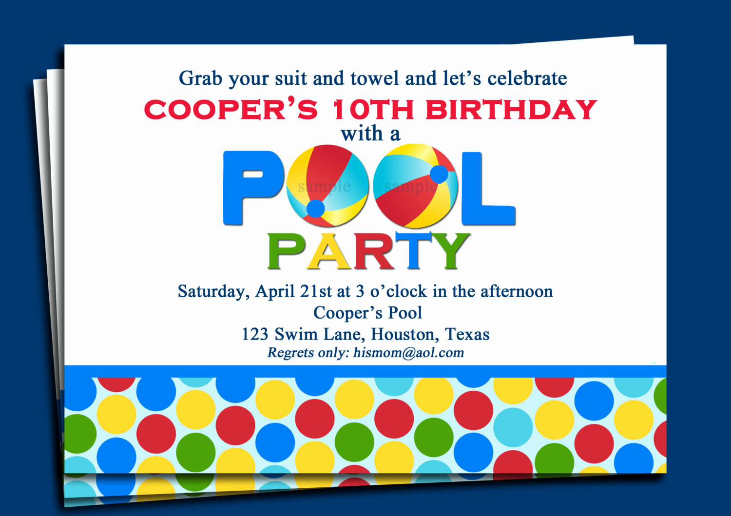 Pool Birthday Party Invitation Awesome Pool Party Invitation Printable or Printed with Free Shipping