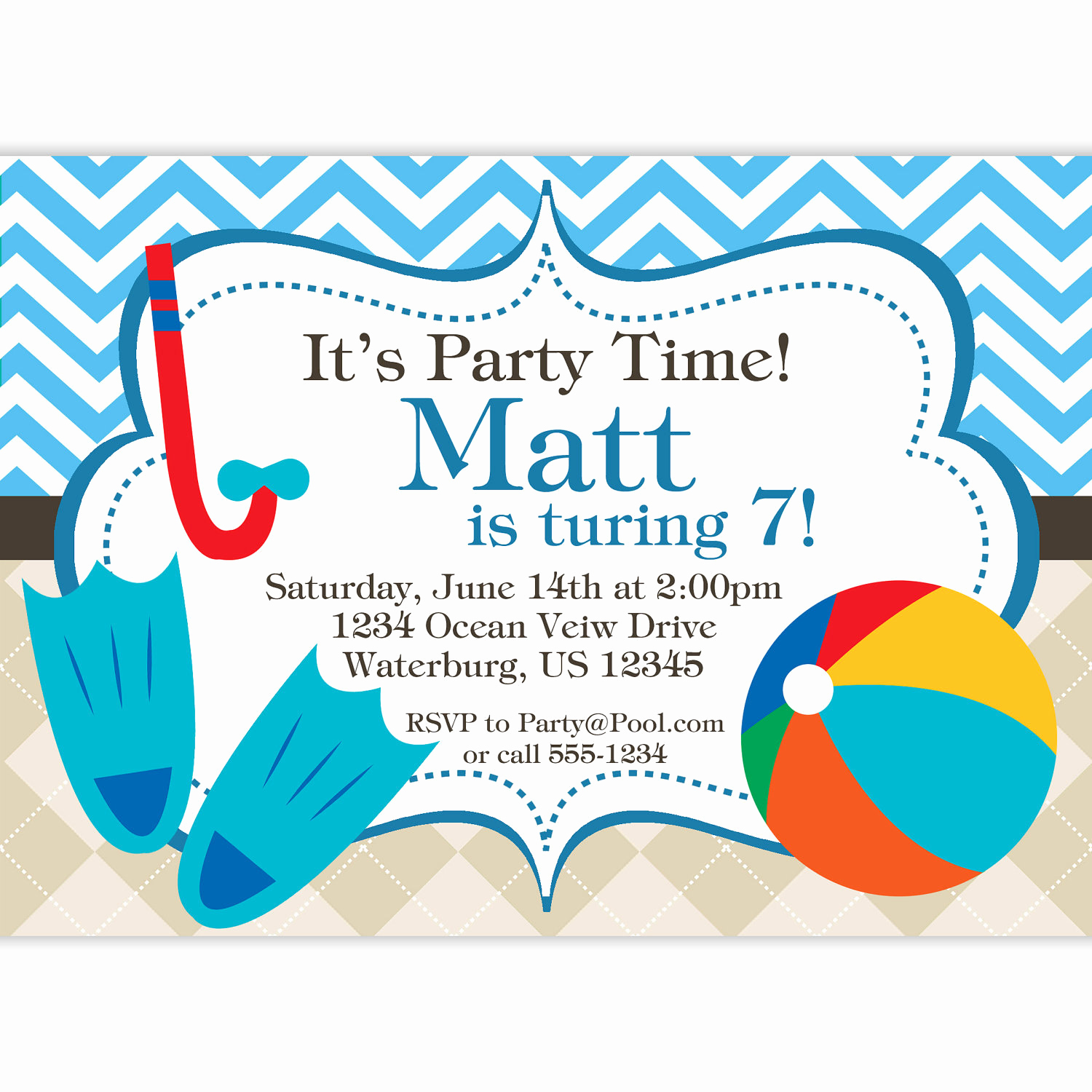 Pool Birthday Party Invitation Beautiful Pool Invitation Blue Chevron and Tan Argyle Beach Ball