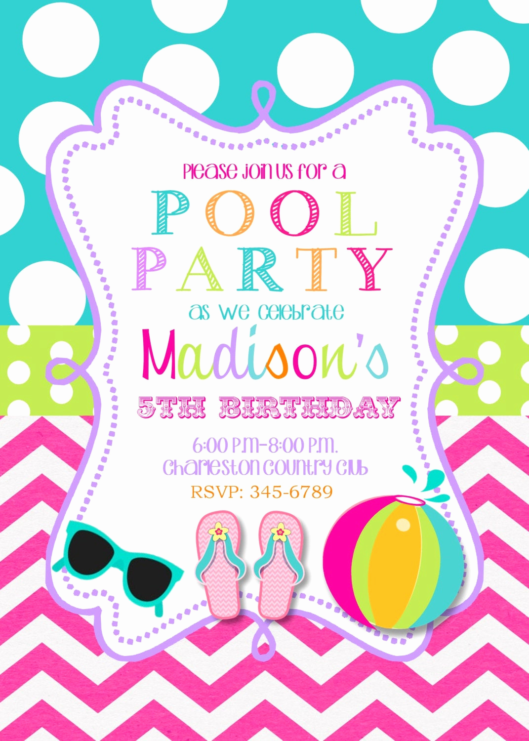 Pool Birthday Party Invitation Beautiful Pool Party Birthday Party Invitations Printable or Digital