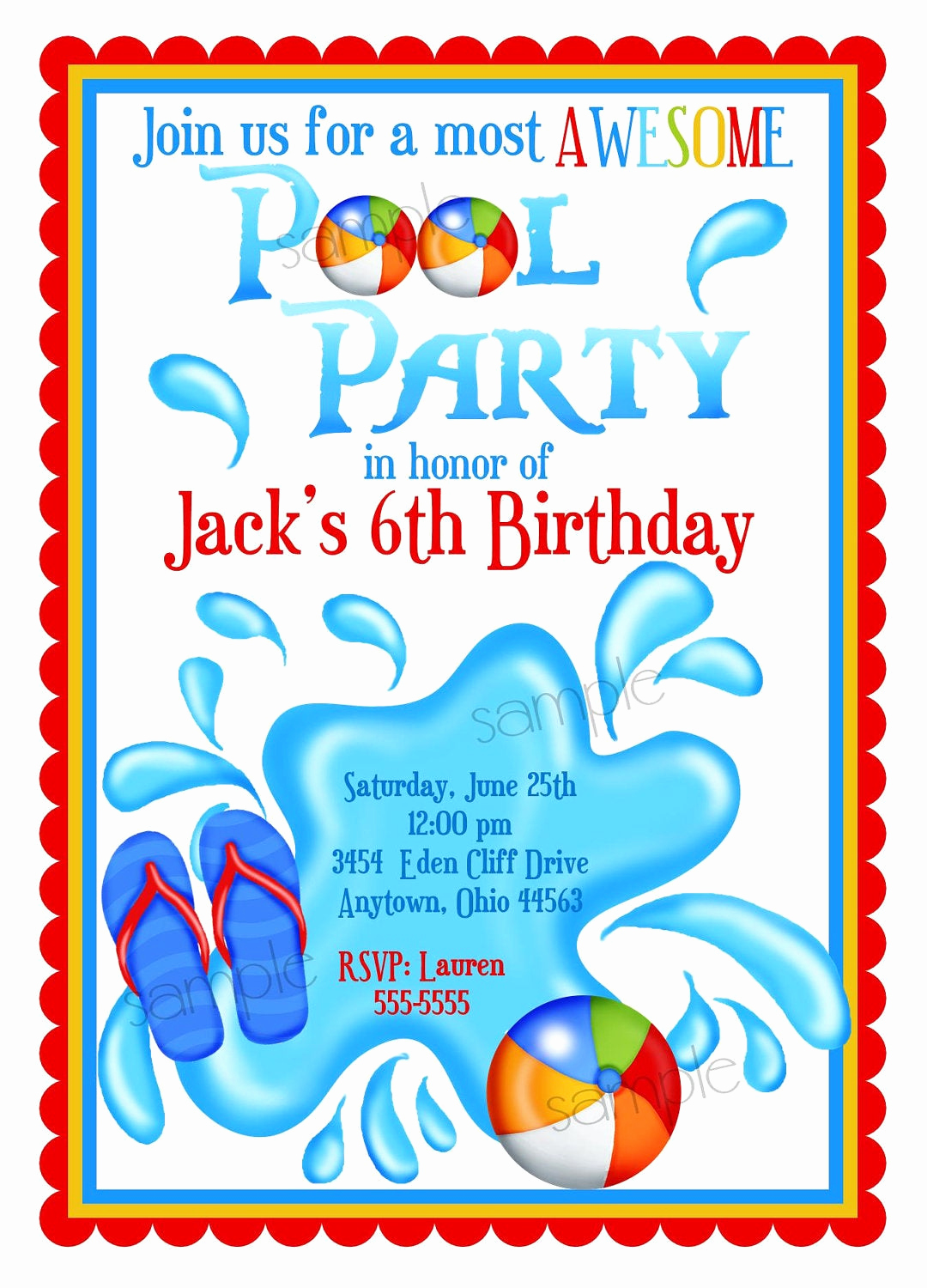 Pool Birthday Party Invitation Best Of Pool Party Invitations Personalized Invitations Boys