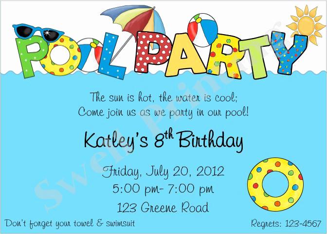 Pool Birthday Party Invitation Elegant Pool Party Invitation Pool Birthday Invitation by
