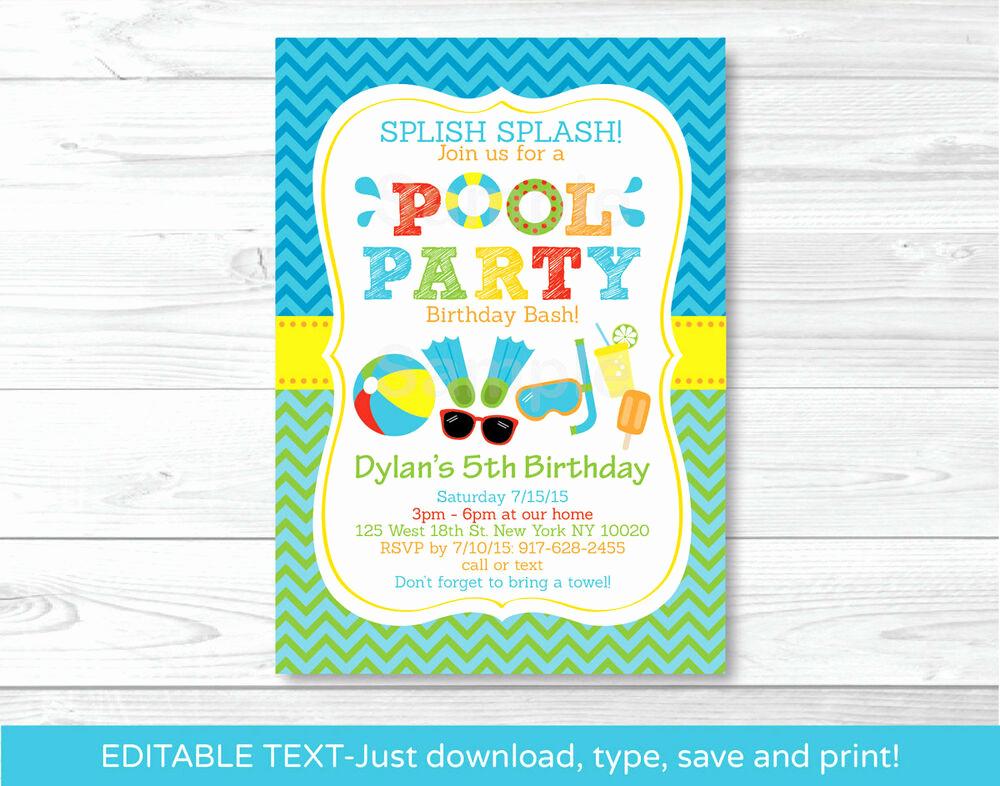 Pool Birthday Party Invitation Fresh Boys Pool Party Printable Birthday Invitation Editable Pdf