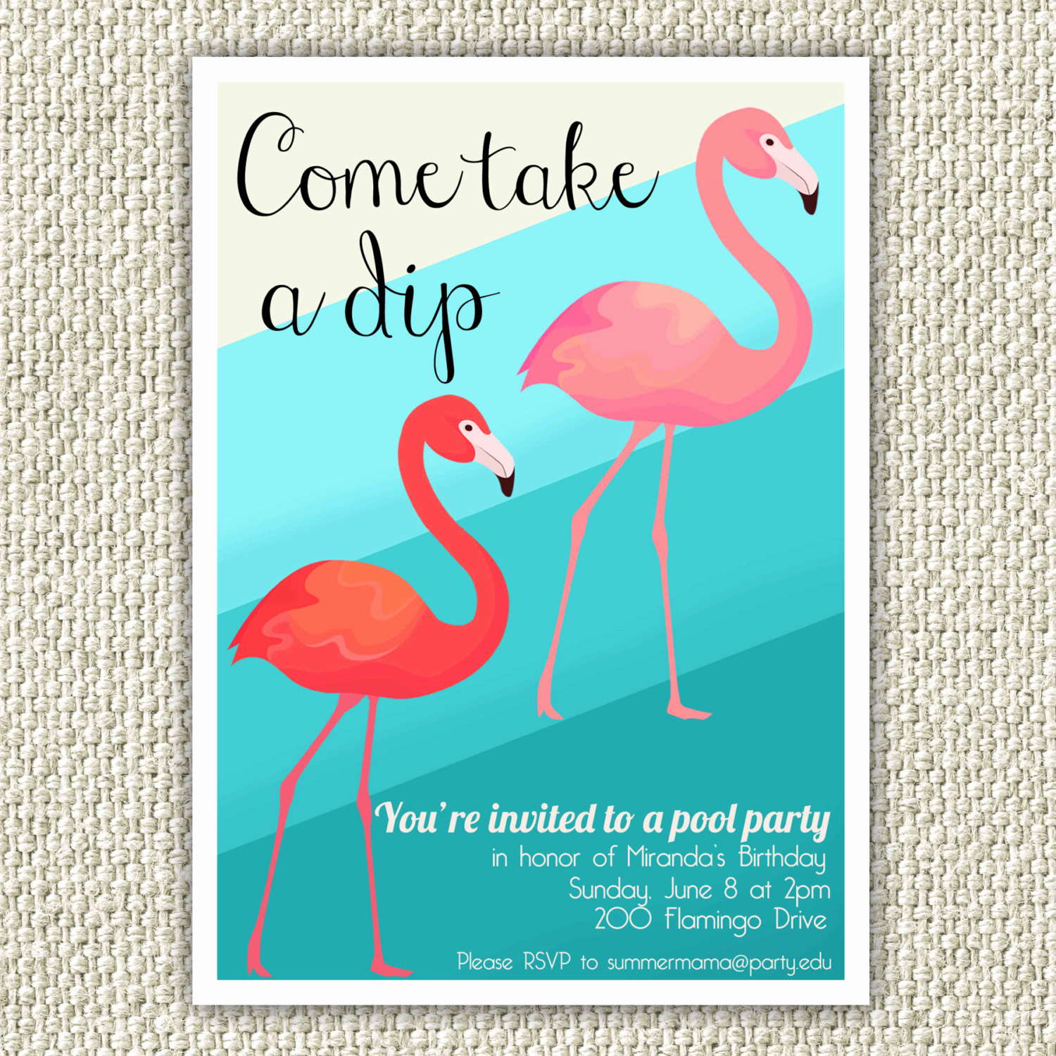 Pool Birthday Party Invitation Inspirational Flamingo Birthday Party Invitation Retro Pool Party
