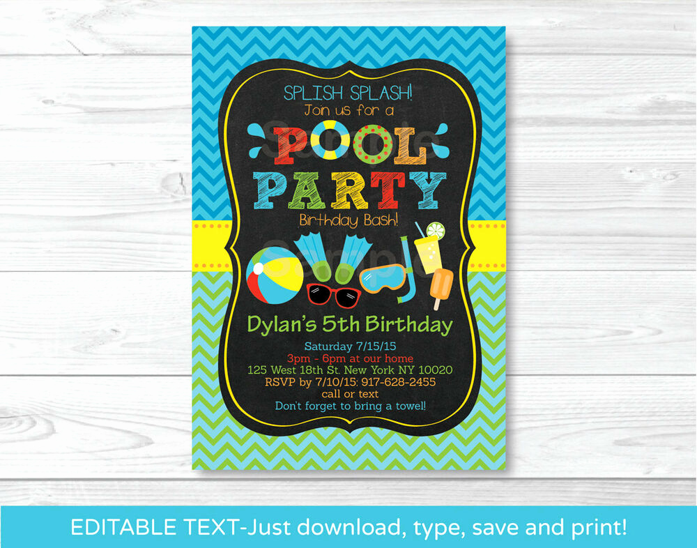 Pool Birthday Party Invitation Luxury Boys Pool Party Printable Chalkboard Birthday Invitation