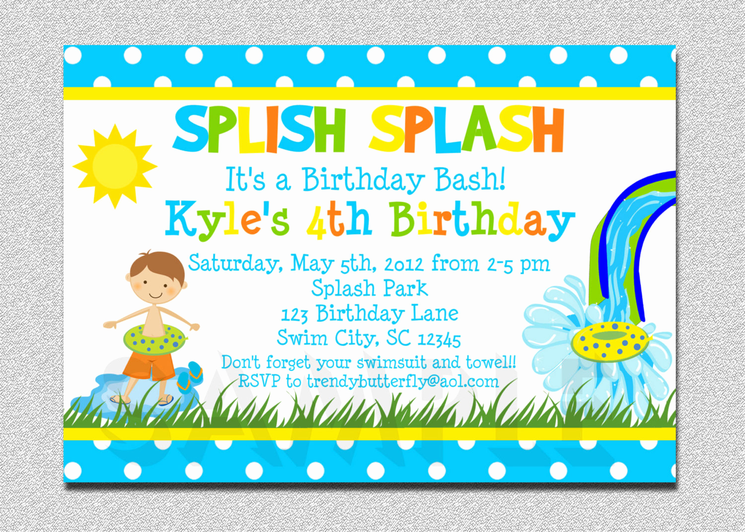 Pool Birthday Party Invitation Luxury Boys Pool Waterslide Birthday Invitation Waterslide