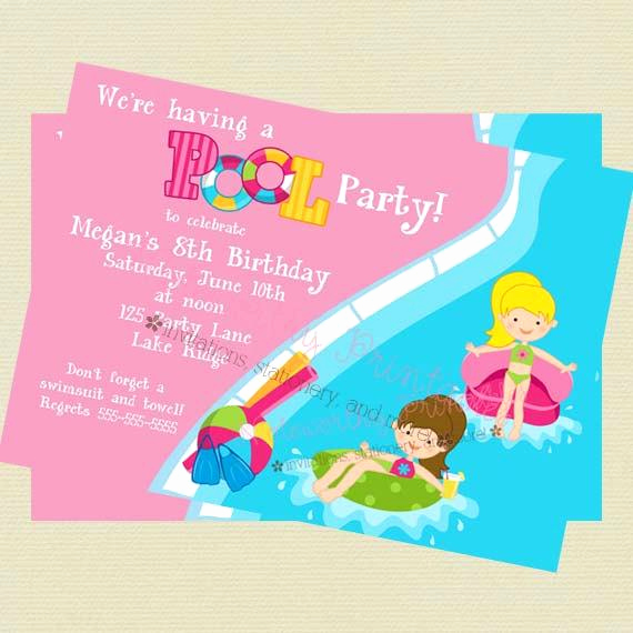 Pool Birthday Party Invitation Luxury Girls Pool Party Invitation Pool Party Birthday Invitation