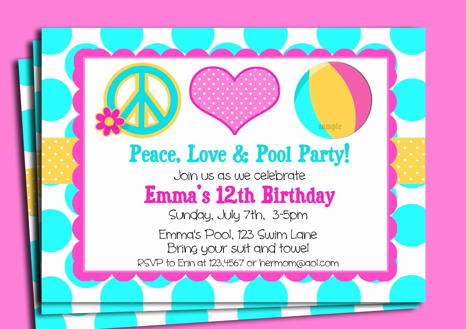 Pool Birthday Party Invitation Luxury Pool Party Invitation Printable or Printed with Free Shipping