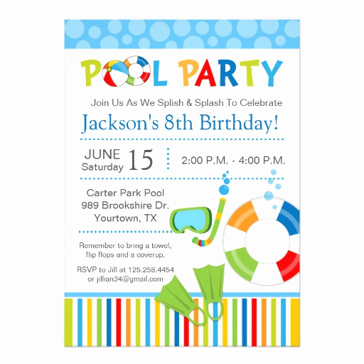 Pool Birthday Party Invitation New Pool Party Birthday Invitation