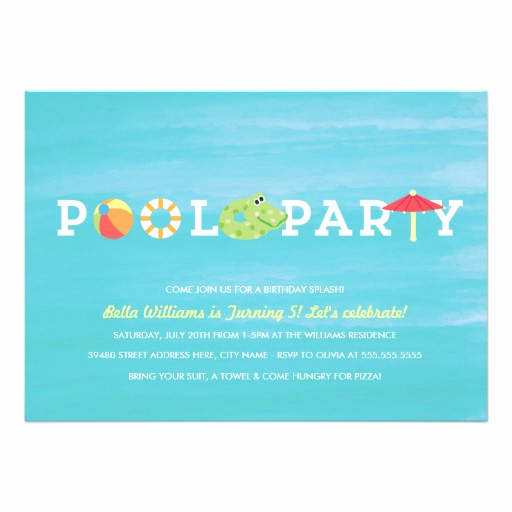 Pool Birthday Party Invitation Unique Fun Birthday Pool Party Invitation Invitations