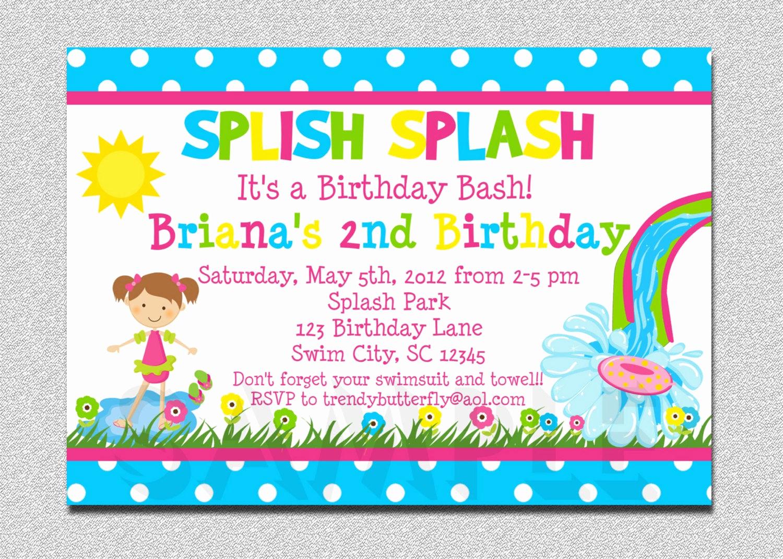 Pool Birthday Party Invitation Unique Pool Party Birthday Invitation Waterslide Birthday Invitation
