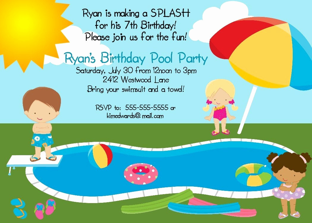 Pool Birthday Party Invitation Unique Pool Party Birthday Party Invitation Printable Digital File