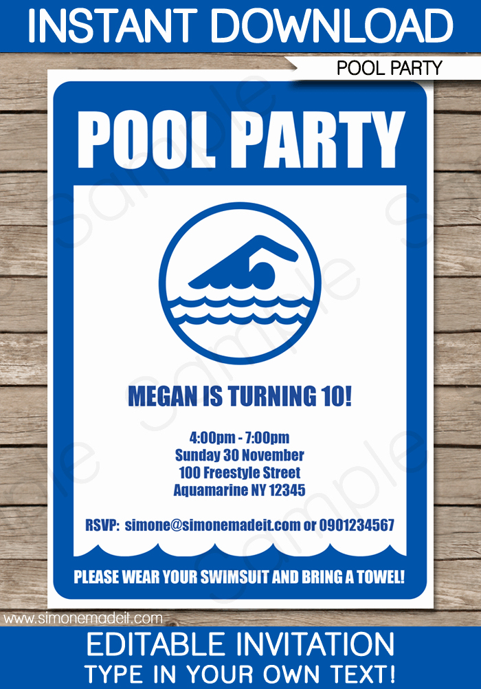 Pool Birthday Party Invitation Unique Pool Party Invitations Template Birthday Party