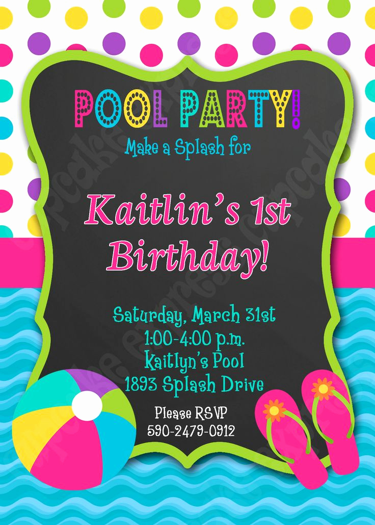 Pool Party Invitation Ideas Elegant Pool Party Birthday Printable Invitation Swimming Party