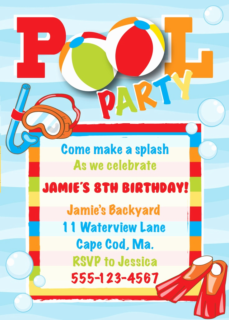 Pool Party Invitation Ideas Inspirational Pool Party Birthday Invitation Boy