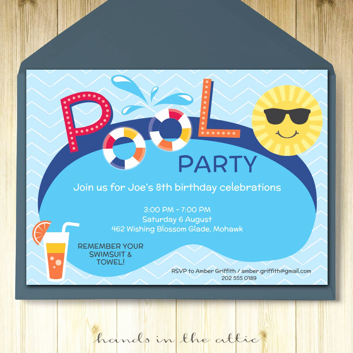 Pool Party Invitation Template Awesome Pool Party Invitation Card Editable Template Party Printable