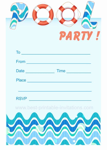 Pool Party Invitation Template Awesome Pool Party Invites Free Printable Kids Party Invites