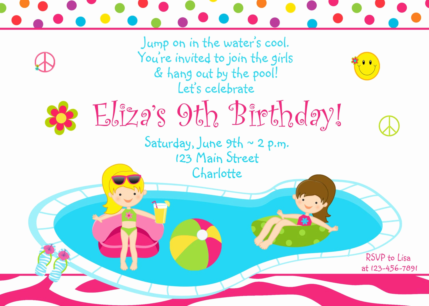 Pool Party Invitation Template Fresh Pool Party Birthday Invitation Girls Pool Party Zebra