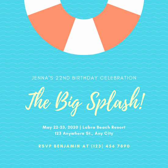 Pool Party Invitation Template Lovely Customize 2 819 Kids Party Invitation Templates Online