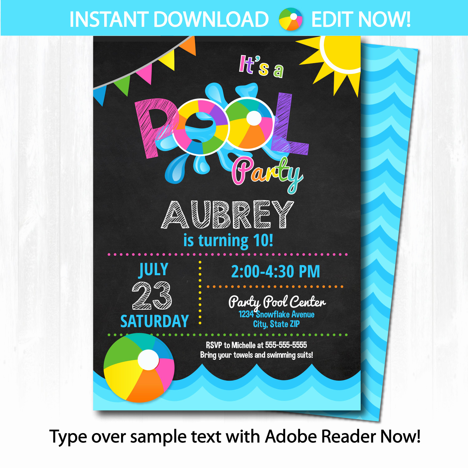 Pool Party Invitation Template Luxury Pool Party Invitation Swimming Pool Birthday Party by