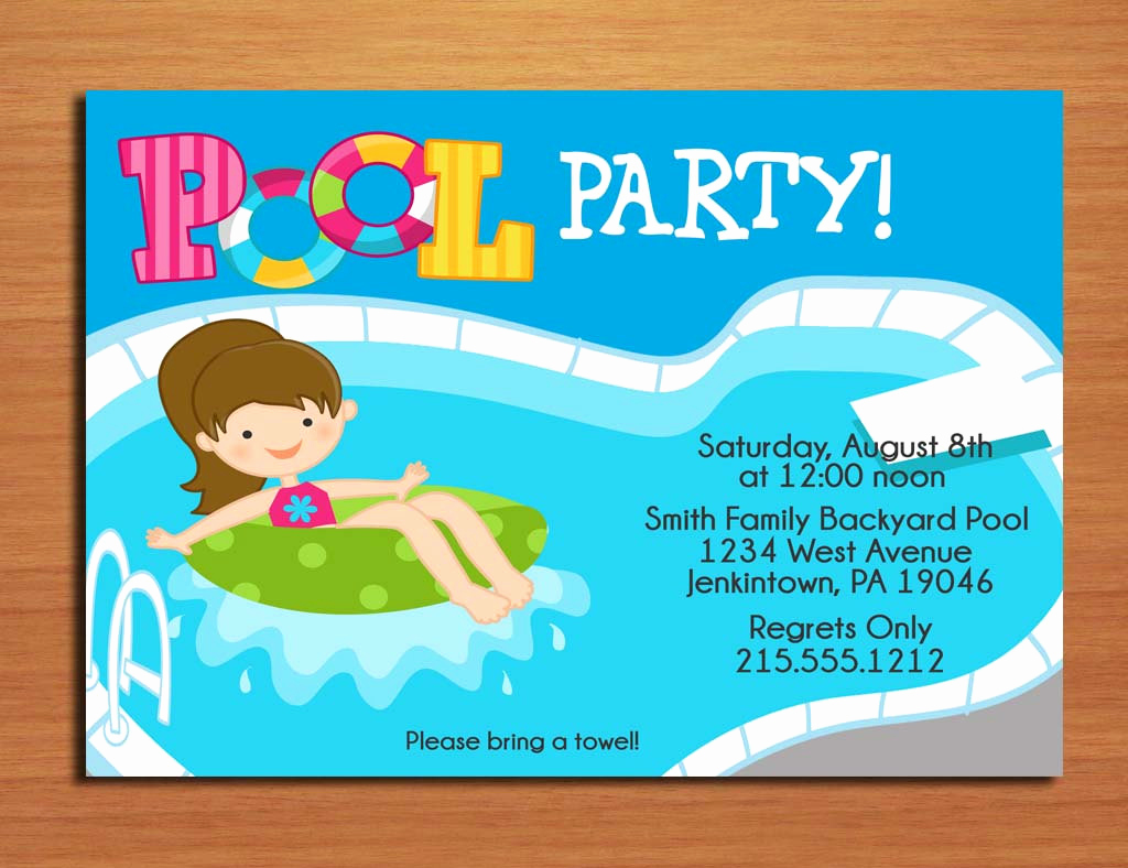 Pool Party Invitation Template New Free Printable Birthday Pool Party Invitations
