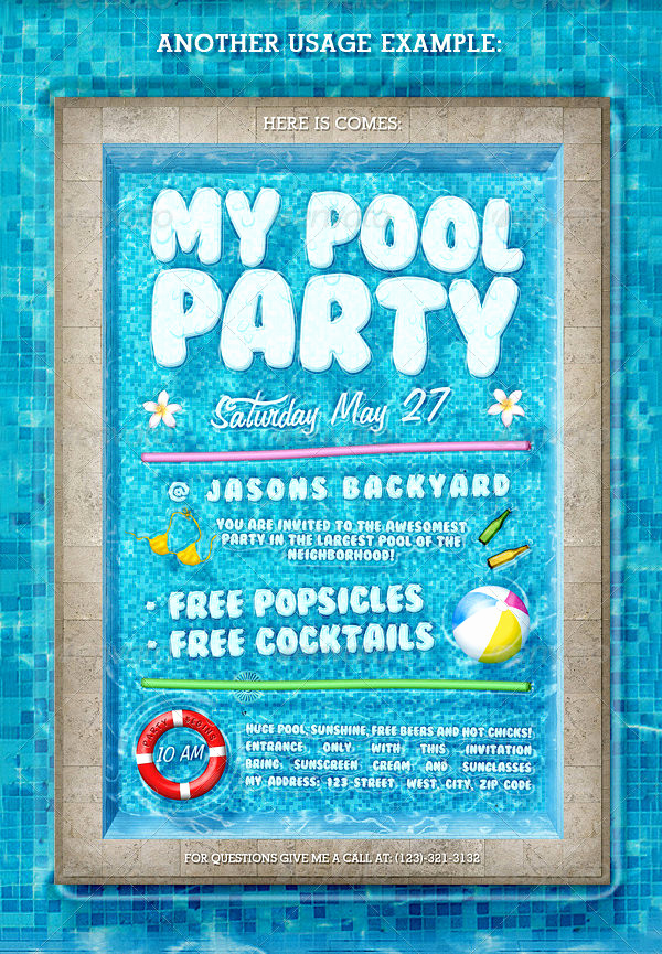 Pool Party Invitation Template Unique 36 Pool Party Invitation Templates Psd Ai Word