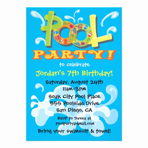 "Pool Party Invitation Template Unique Colorful Pool Party Invitations 5"" X 7"" Invitation Card"