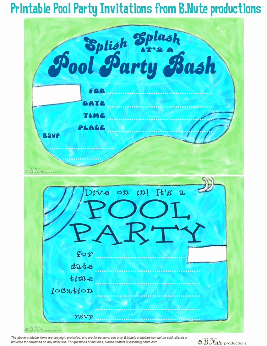 Pool Party Invitation Template Unique Free Printable Pool Party Invitations