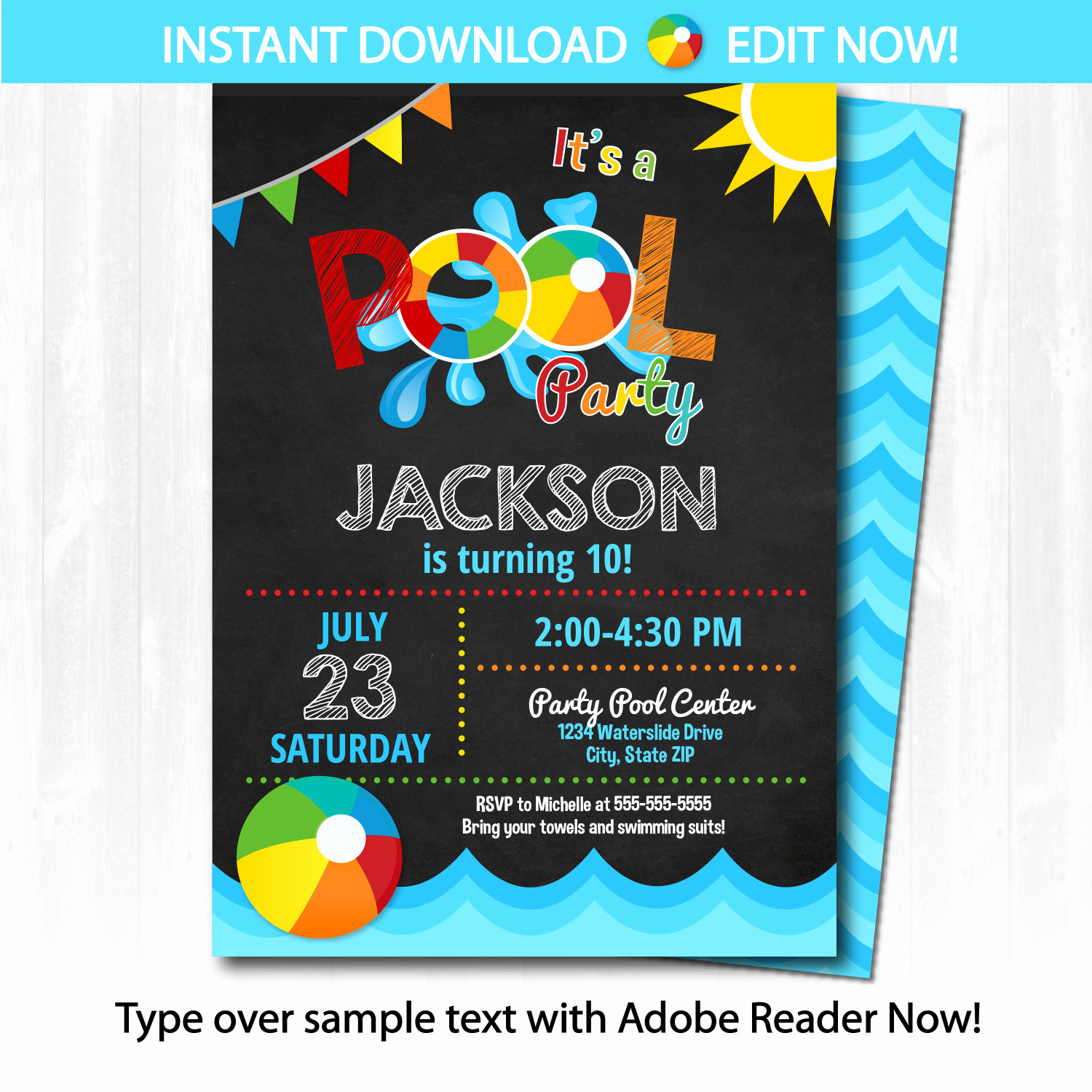 Pool Party Invitation Template Unique Pool Party Invitation Swimming Pool Birthday Party by
