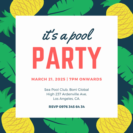 Pool Party Invitation Template Unique Pool Party Invitation Templates Canva