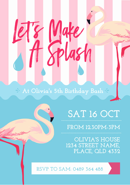 Pool Party Invitation Templates Awesome Pink Flamingo and Water Pool Party Invitation Template Easil