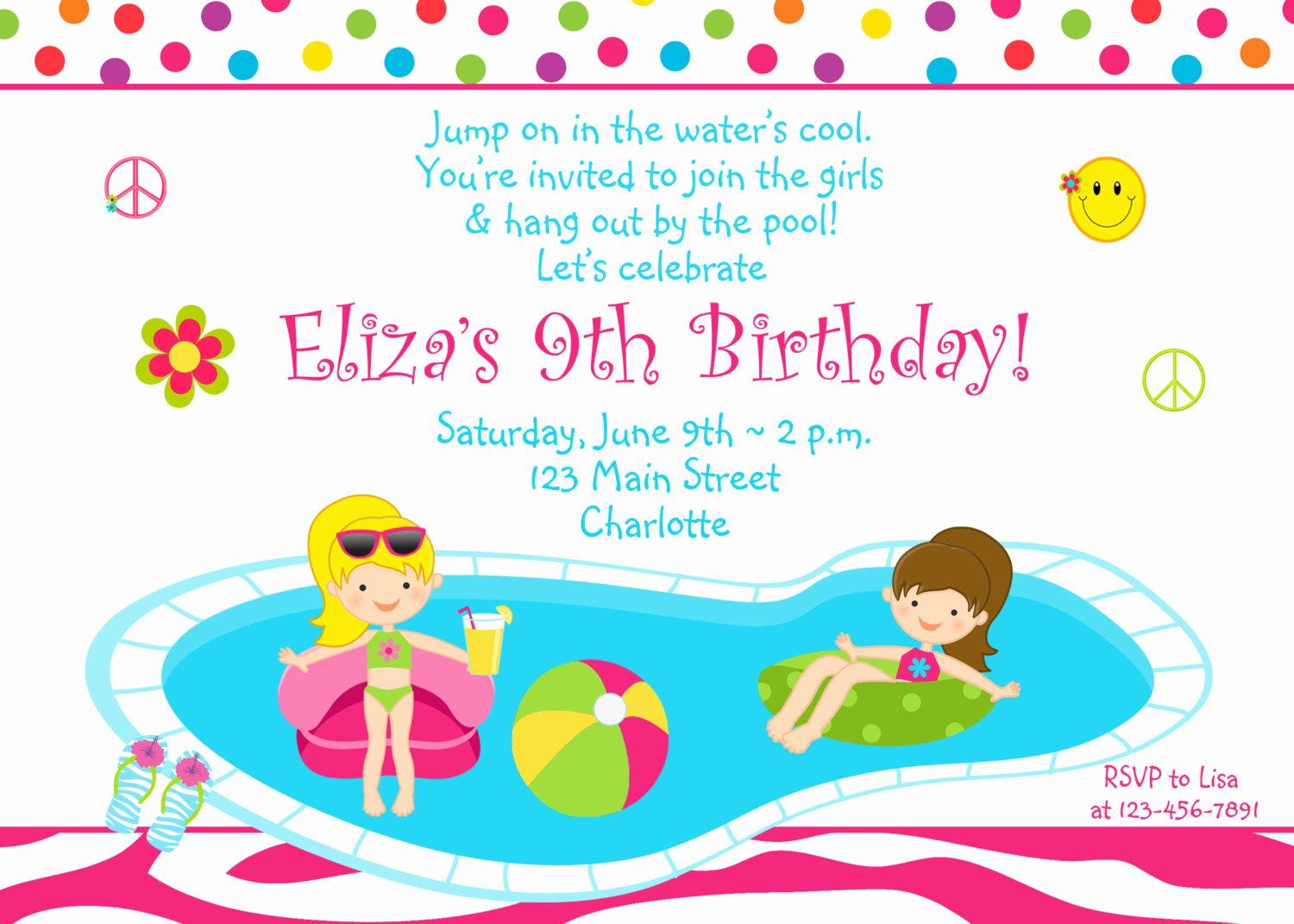 Pool Party Invitation Templates Awesome Pool Party Birthday Invitation Girls Pool Party Zebra