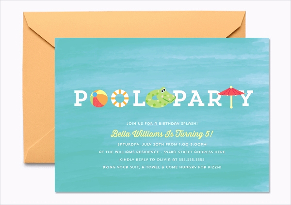Pool Party Invitation Templates Lovely 19 Kids Party Invitation Designs & Templates Psd Ai