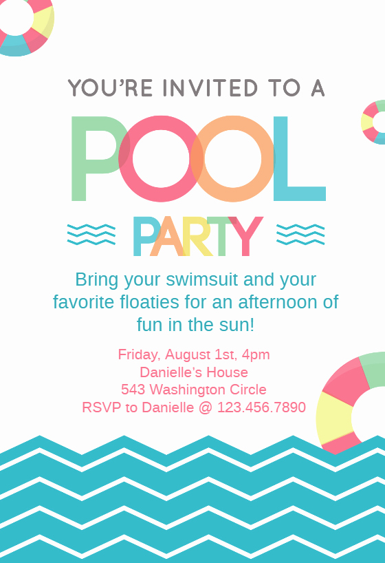 Pool Party Invitation Templates Lovely Fun afternoon Pool Party Invitation Template Free