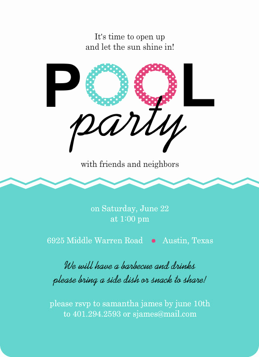 Pool Party Invitation Templates Luxury Pool Party Invites Floaties Pink and Turquoise Pool