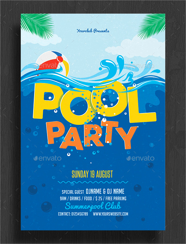Pool Party Invitation Templates New 33 Printable Pool Party Invitations Psd Ai Eps Word