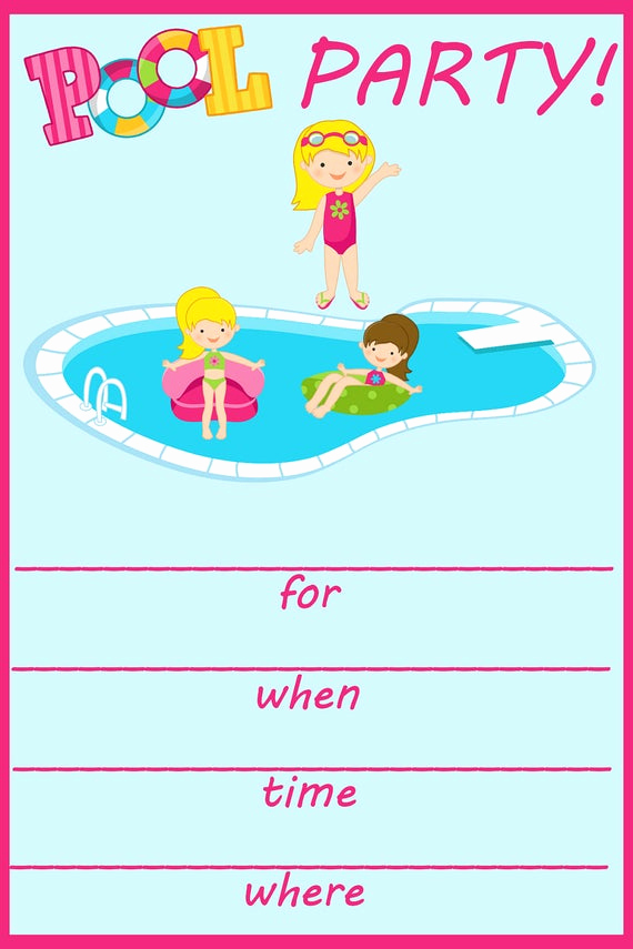 Pool Party Invitation Templates Unique Items Similar to Pool Party Fill In Birthday Invitation On