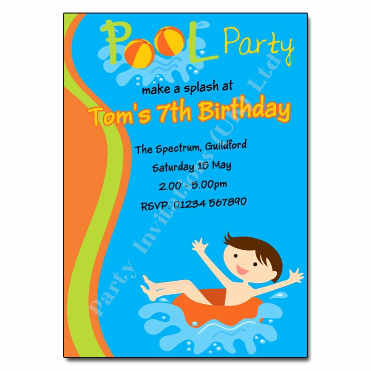 Pool Party Invitation Wording Awesome Pool Party Birthday Invitation