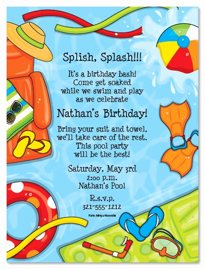 Pool Party Invitation Wording Best Of Summer Splash Birthday Party Invitations
