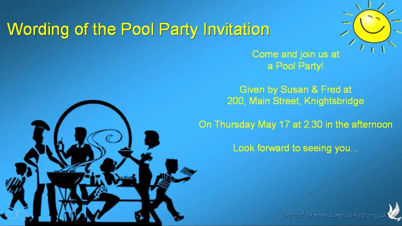 Pool Party Invitation Wording Elegant Pool Party Invitation Wording