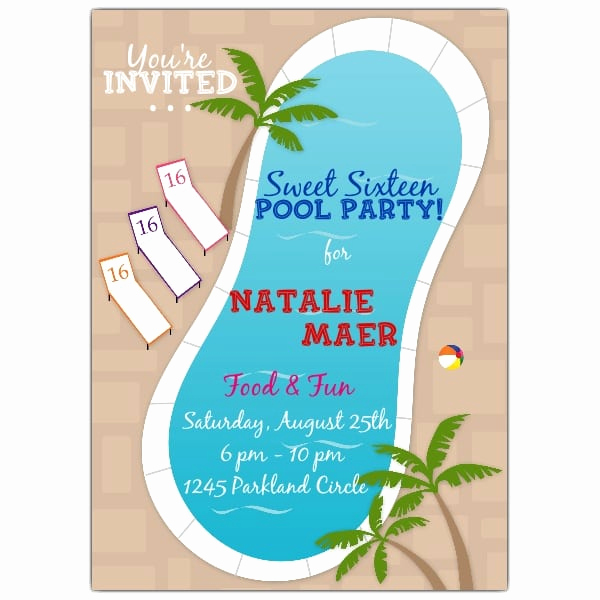 Pool Party Invitation Wording Inspirational Pool Party Invitation Sweet 16
