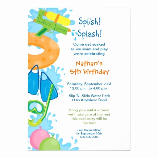 Pool Party Invitation Wording Luxury Printable Pool Party Birthday Invitation