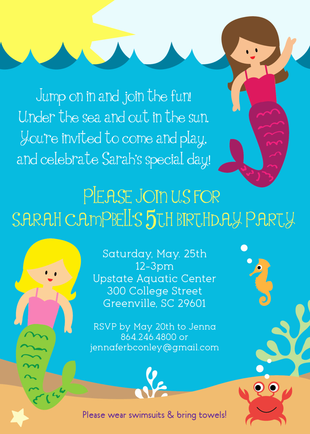 Pool Party Invitation Wording Unique Mermaid Birthday Party Invitation Girl Under the Sea